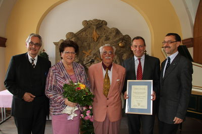 Dr. Michael Rückert, Landtagspräsidentin Barbara Stamm, Alfred Mahn, Prof. Dr. Klaus Hauer, Dr. Michael Schwab (v. li.)